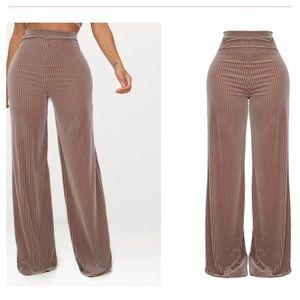 Shape Taupe Striped Velvet Wide Leg Trousers